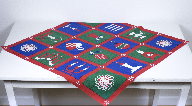 Vintage Mid Century Modern Swedish Christmas Tablecloth by Norah