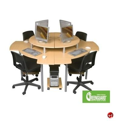Picture Of 4 Person Circular Cluster, Curve Computer Desk Workstation