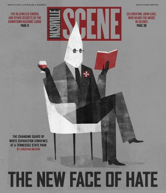"""The new declaration of hate""  new Nashville Scene's   Art direction by Elizabeth Jones.   Illustrator: Keith Negley.. (www.keithnegley.com)"