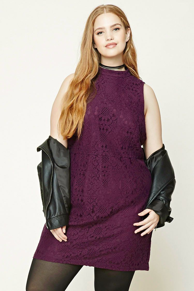 awesome amazing forever 21 plus size eggplant floral shift crochet