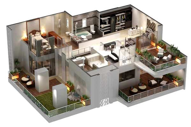 31 Awesome Villa Floor Plan 3D Images | Plan | Pinterest | Villas