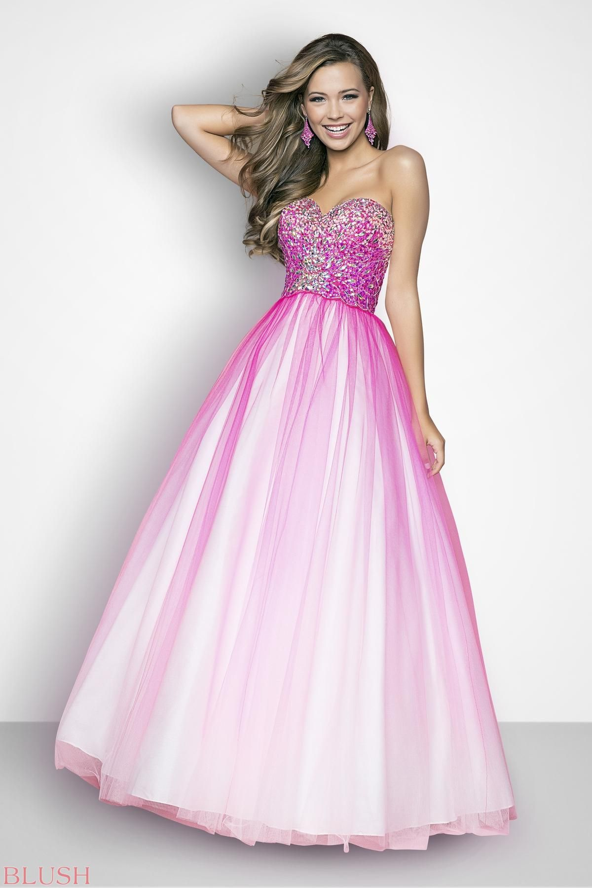 Beaded elegance in a ballgown prom dress! Clear jewels and tonal ...