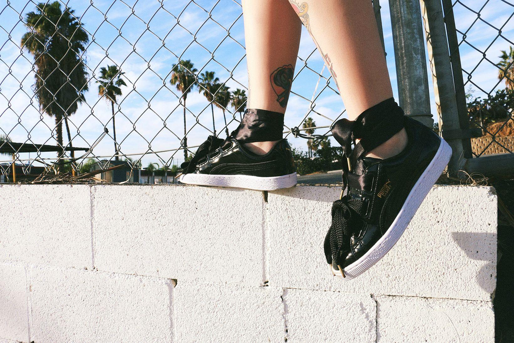 PUMA Basket Heart Black White Alysha Nett Allie Layus   Shoes ... 33518151ee