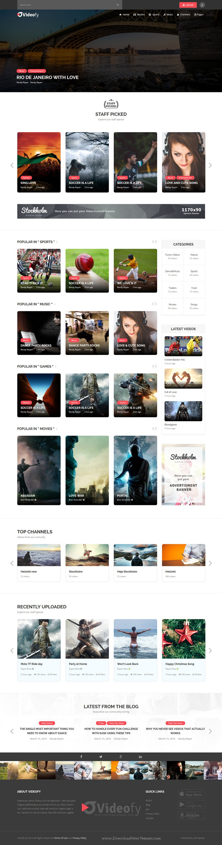 Videofy Is A Clean And Well Organized Bootstrap Template For Video