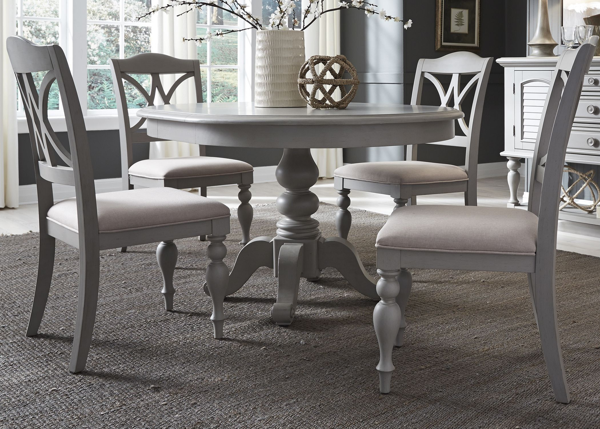 Summer house dove grey round extendable dining table kitchen