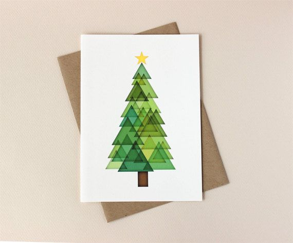 Christmas Card Set Triangle Tree Holiday Cards Etsy Etsy Holiday Cards Christmas Card Art Diy Christmas Cards