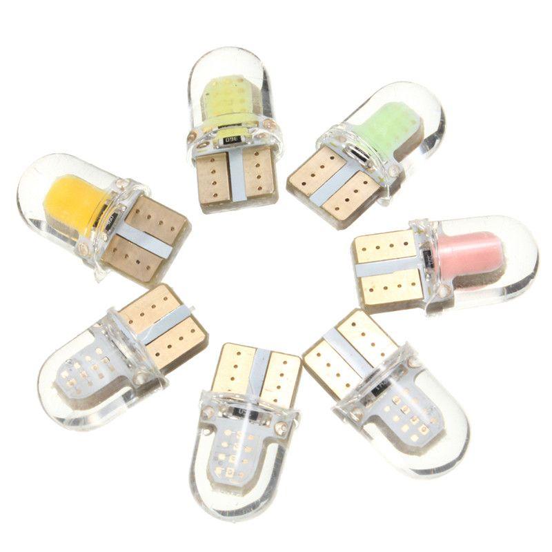 Hot Sale 2pcs T10 194 168 W5w Cob 8 Smd 1w 80lumen Silica Super Bright Led Turn Side Light Lamp Bulb Dc12v Car Led Lamp Bulb Bulb