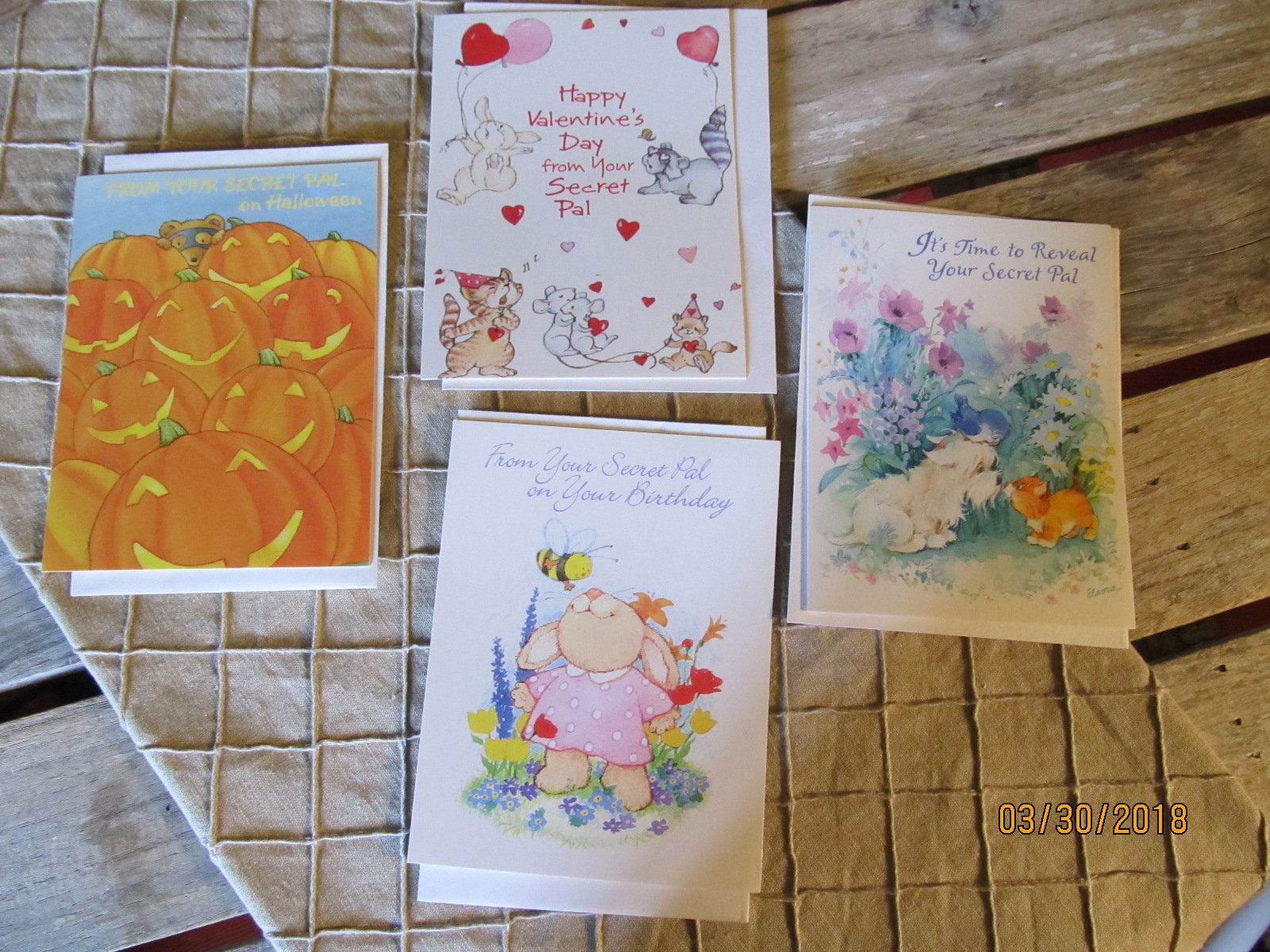 4 Vintage Adorable Secret Pals Greeting Note Cards From American