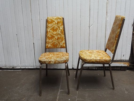 Pair Of Vintage Dinette Dining Chairs Mid Century Modern With Burnt Orange  Floral Design, Vinyl