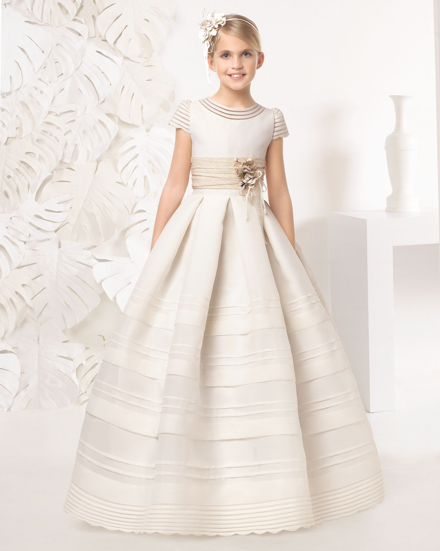 a149dc54 ROMY - Rosa Clará / First Communion dress with fine-basketweave silk pin  tucks, in ivory.