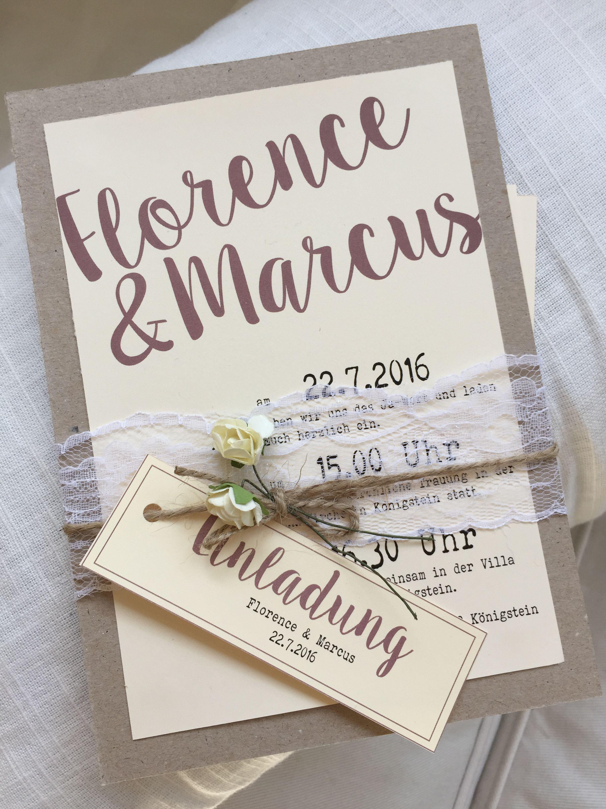 Vintage Einladungskarte zur Hochzeit, mit schöner Spitzenborte ... - Einladungskarten Hochzeit Frankfurt