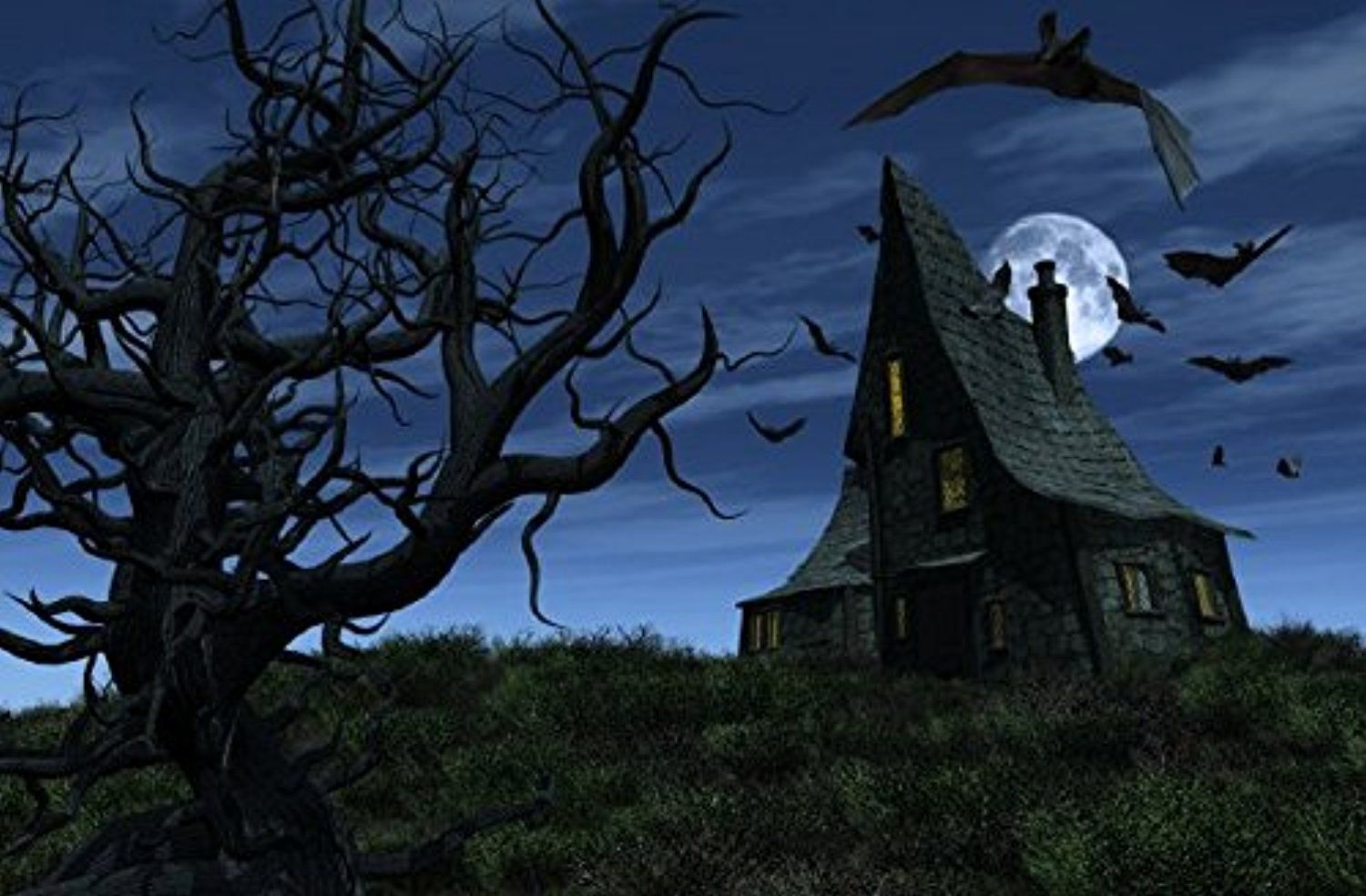 halloween haunted house led canvas art awesome products selected by anna churchill