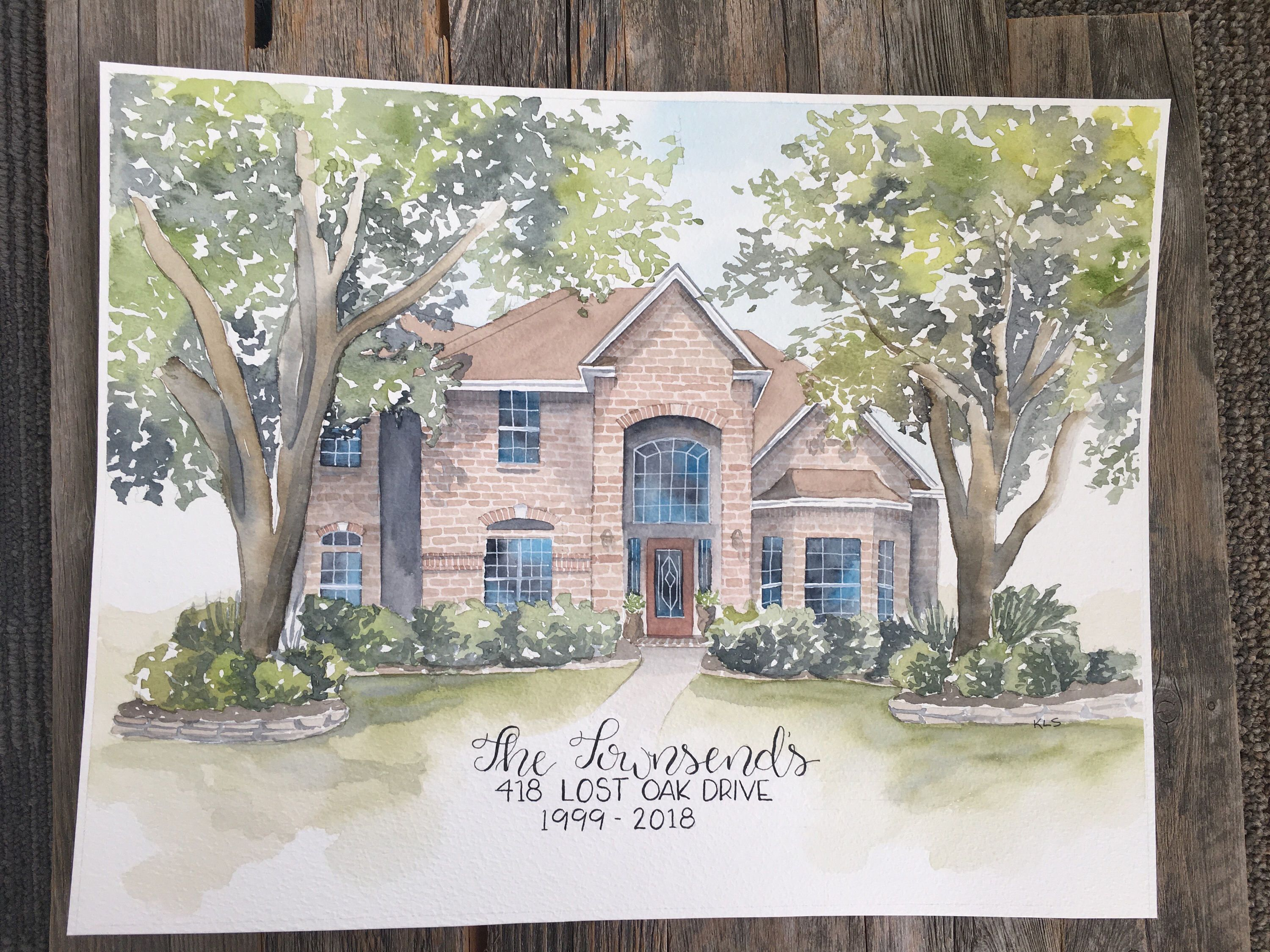 Custom House Portrait from your photos Housewarming Gift Realtor Closing Gift Fine Art Painting Home Watercolor Painting new home gift