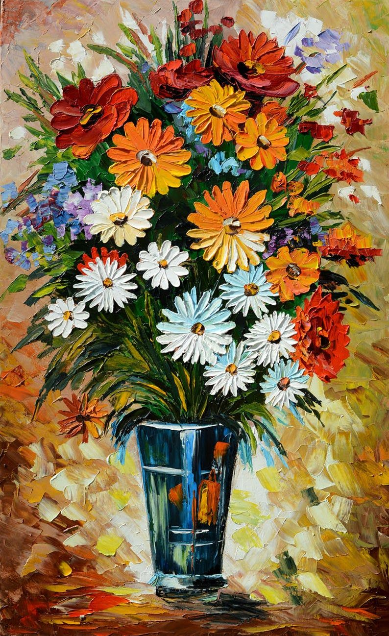 Flowers Original Oil Painting Palette knife Daisies Vase