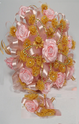Pink and Gold Quinceanera Flower Bouquet Flowers bouquet