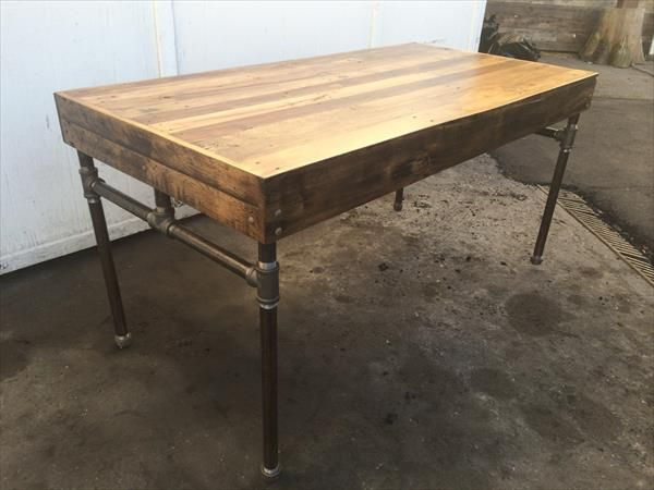 High Quality This DIY Pallet Desk With Iron Pipe Base Has Just Been Made To Inspire And  Can Live For Many Future Years. Rustic Wooden Top Has Been Retrieved From  Pallets