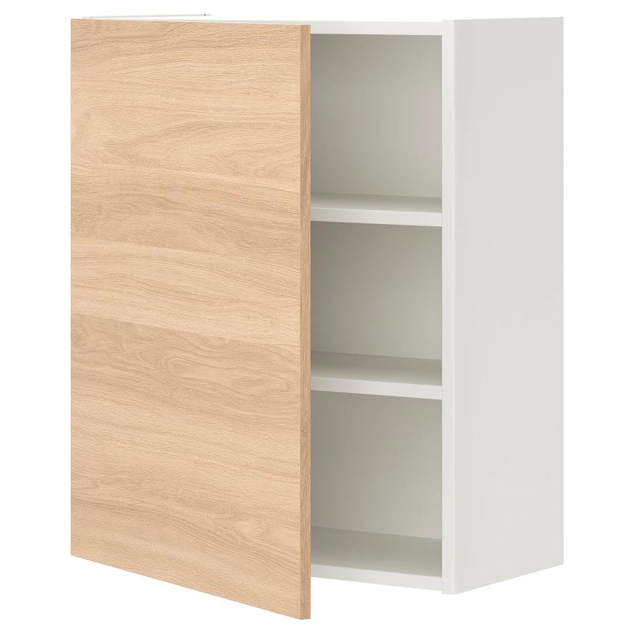 ENHET Wall cb w 2 shlvs/door, white/oak effect, 60x32x75 cm …