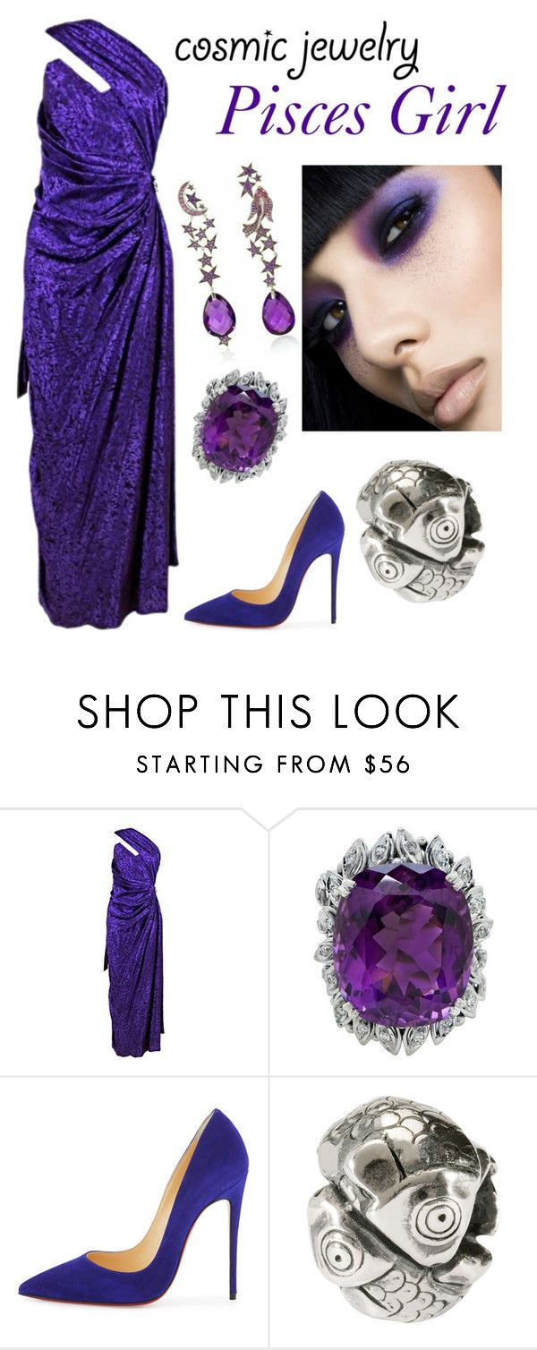 """""""Zodiac Beauty"""" by kotnourka ❤ liked on Polyvore featuring Emanuel Ungaro, Christian Louboutin and Trollbeads"""