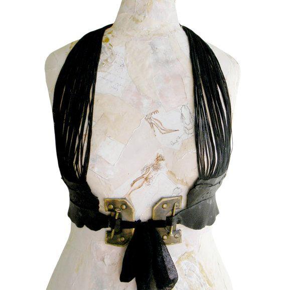 Leather Harness, sash, leather accessories, gothic, goth lolita, halloween costume, dominatrix, steampunk, fashion couture, irregular, $74