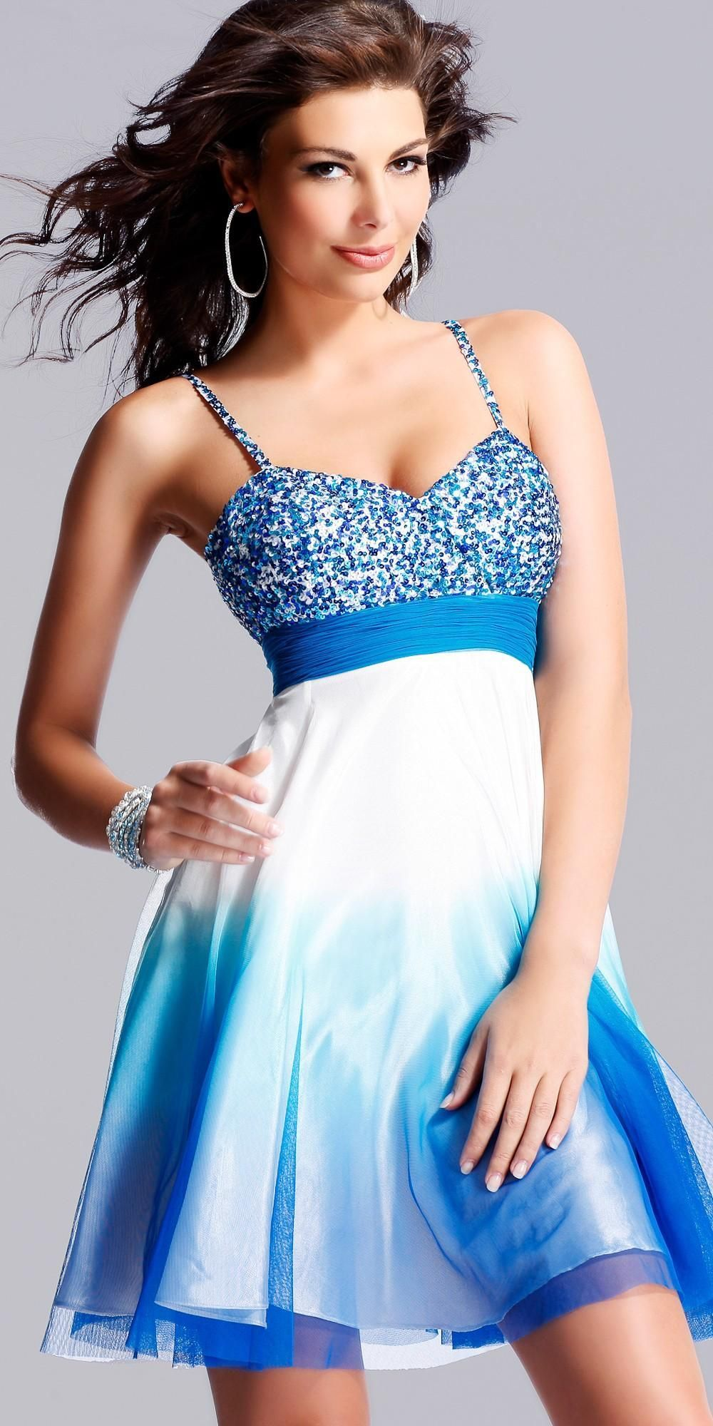 Teal ombre sequinned blue prom dress by scala blue justine