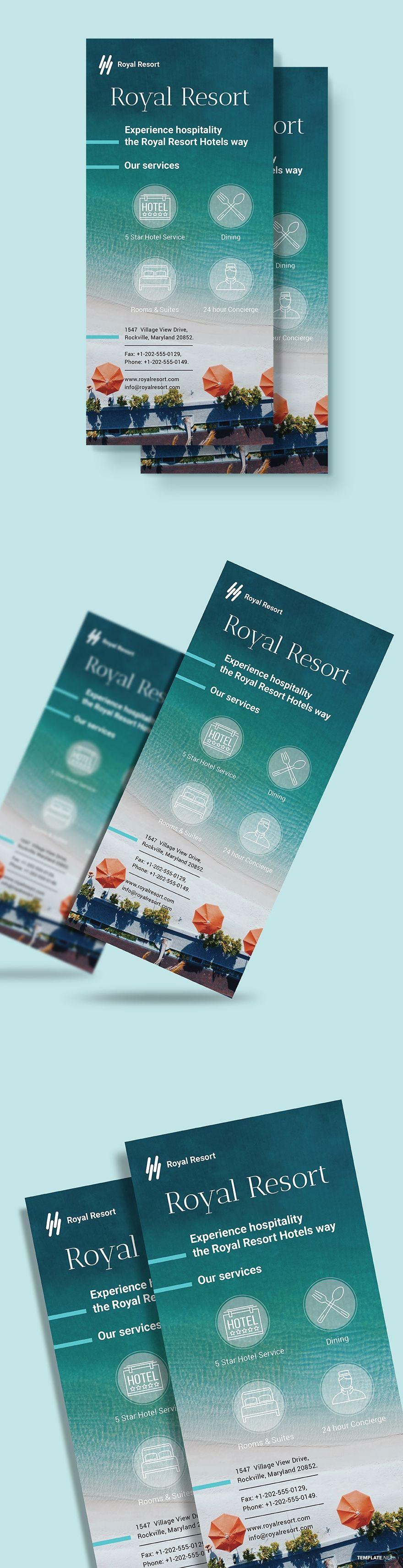 Royal Resort Rack Card Template Word Psd Indesign Apple Pages Publisher Illustrator Rack Card Templates Rack Card Card Template