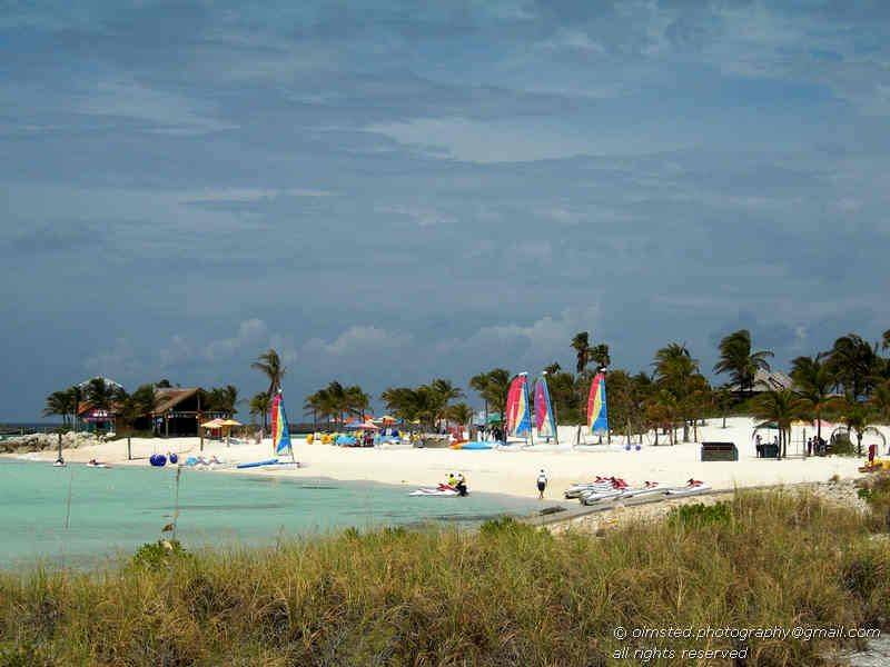 Disney's Castaway Cay. The island is still largely undeveloped: only 55 of the 1,000 acres (4.0 km2) are being used.[
