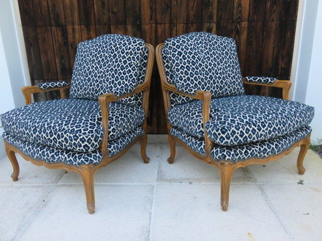 Pair Of Mid Century Hollywood Regency Bergere Chairs With