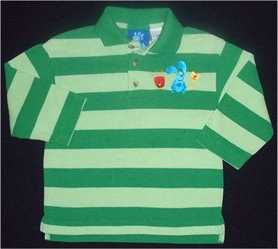 Details About Boys Blues Clues Nick Jr Green Striped Steve Polo