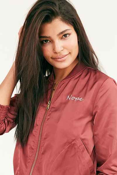 49a06d555 Silence + Noise Simple Satin Embroidered Nope Bomber Jacket | WISHES ...
