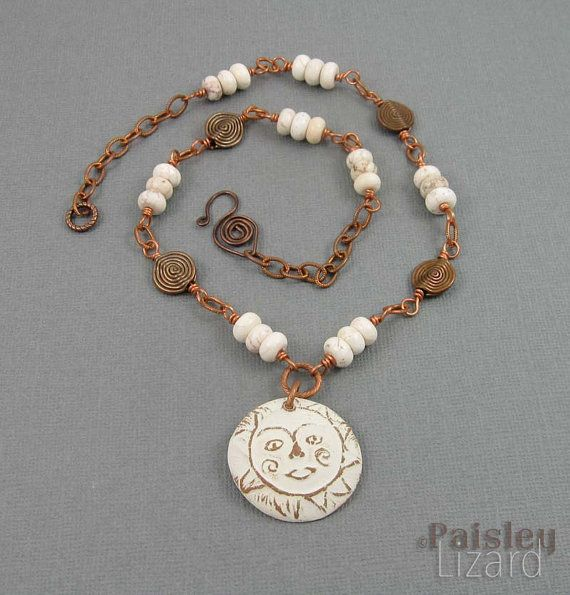 Winter White Sun Necklace  rustic copper designs by PaisleyLizardDesigns
