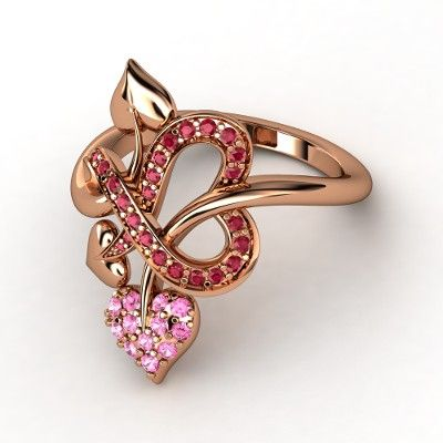 18K Rose Gold Ring with Pink Sapphire & Ruby - lay_down