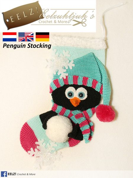 Crochet Tutorials – Penguin Stocking - Crochet Pattern – a unique product by Eelzuhtjuh on DaWanda
