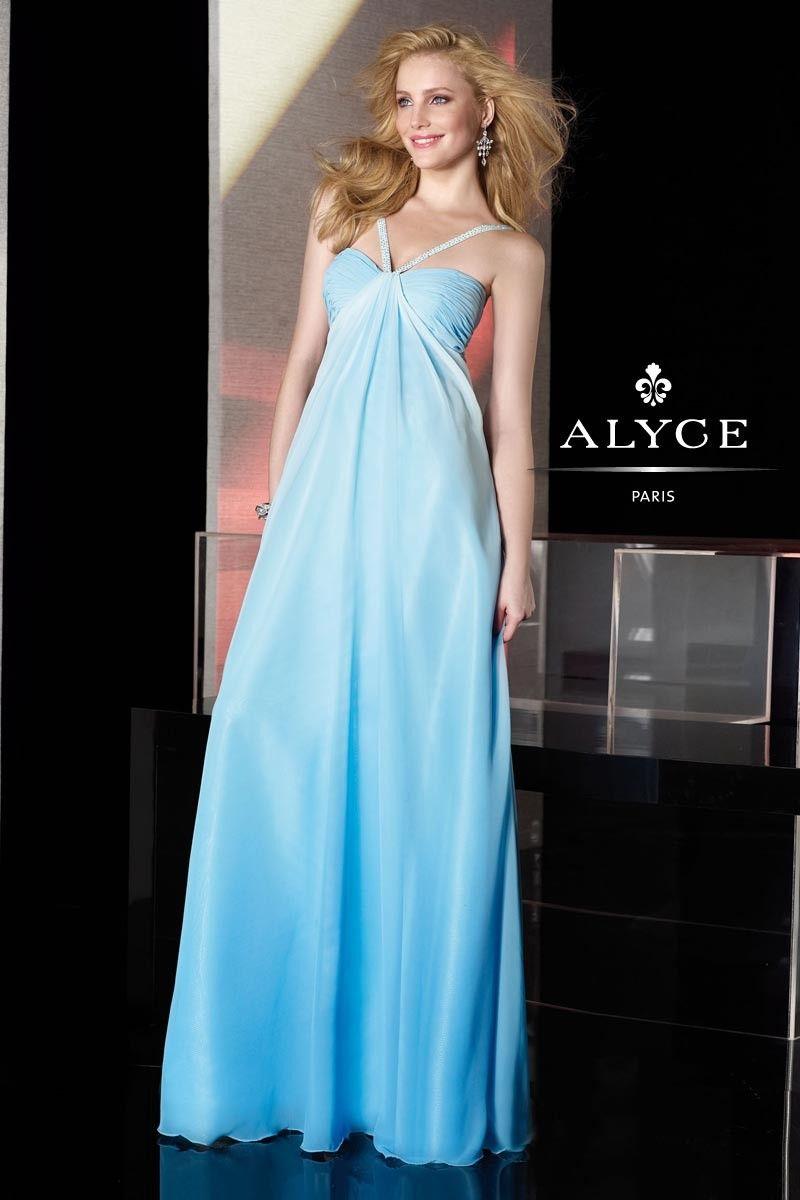 2013 Prom Dresses, Empire Simple Light Blue Chiffon Beading V-neck ...