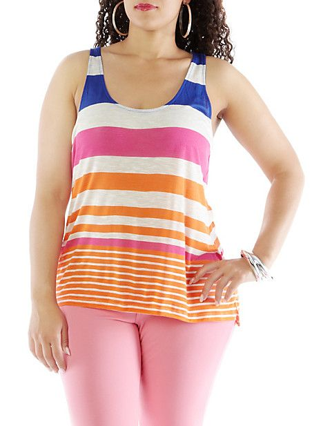 Plus-Size Striped Peek-a-Book Tank,LT.OAT/INK BLU/FUCH/ORANG,large