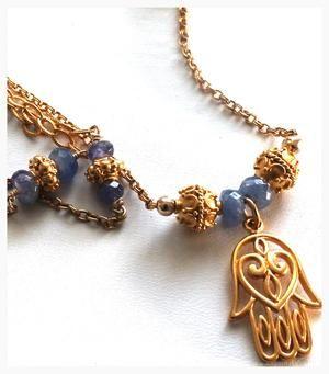 Hamsa and Sapphire Necklace