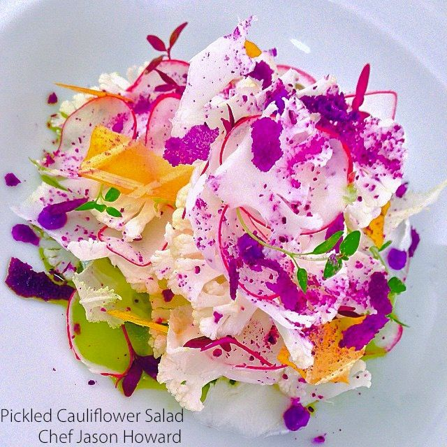 Cauliflower Salad by Chef Jason Howard. Cauliflower salad, pickle cauliflower, red cabbage flakes, red cabbage powder, mango paper, basil oil with lemon thyme finish. Modern #caribbean #cuisine and #food #styling.