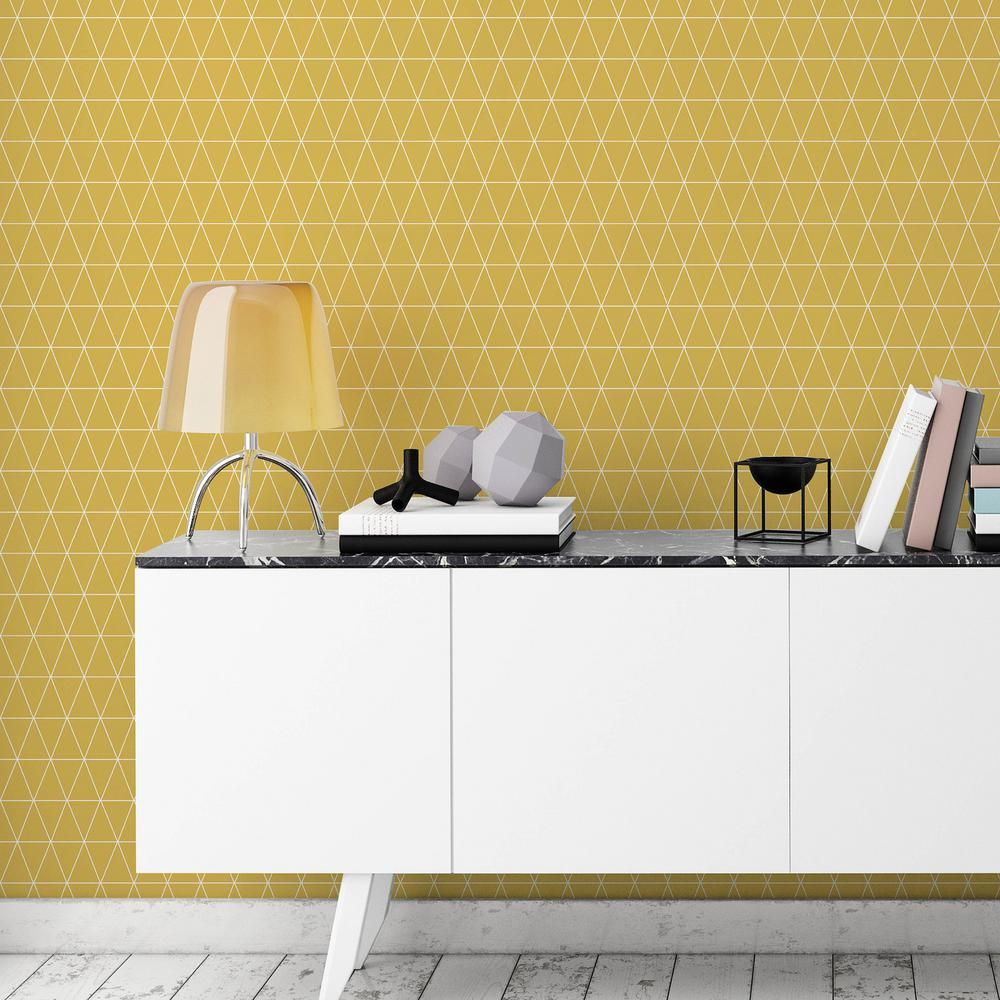 Repositionable Wallpaper For Kitchen Accent Wall Ideas: Graham & Brown Symmetry Triangolin Mustard Removable