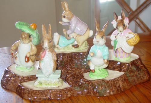5 Vintage Beatrix Potters Peter Rabbit Figurines
