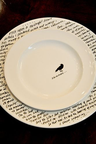 Make custom dinnerware --   Start off with plain white plates of your choosing (available cheaply everywhere), a porcelain 150 pen, some blue masking tape and a small stencil (optional).