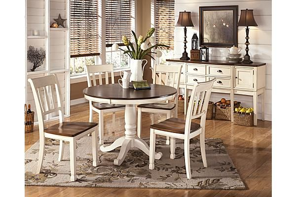 The Whitesburg Dining Room Chair From Ashley Furniture Homestore Afhs Com With The Warm Two Tone Look Of The Cottage White A Round Dining Room Table