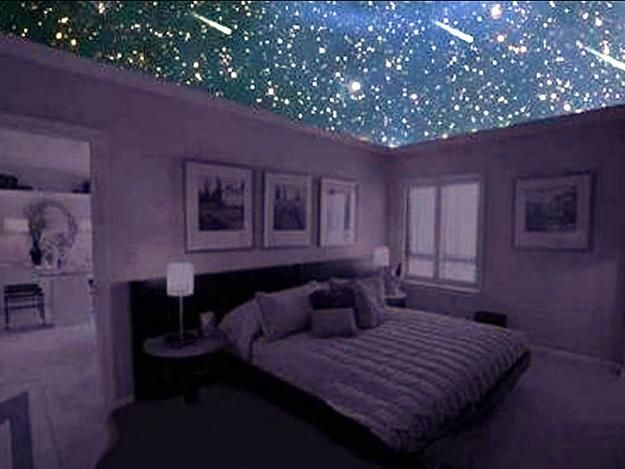 Mysterious Star Ceiling Designs Made With Stretch Ceiling Film And Led Lights Ceiling Design Bedroom Decor For Couples Dorm Room Lights