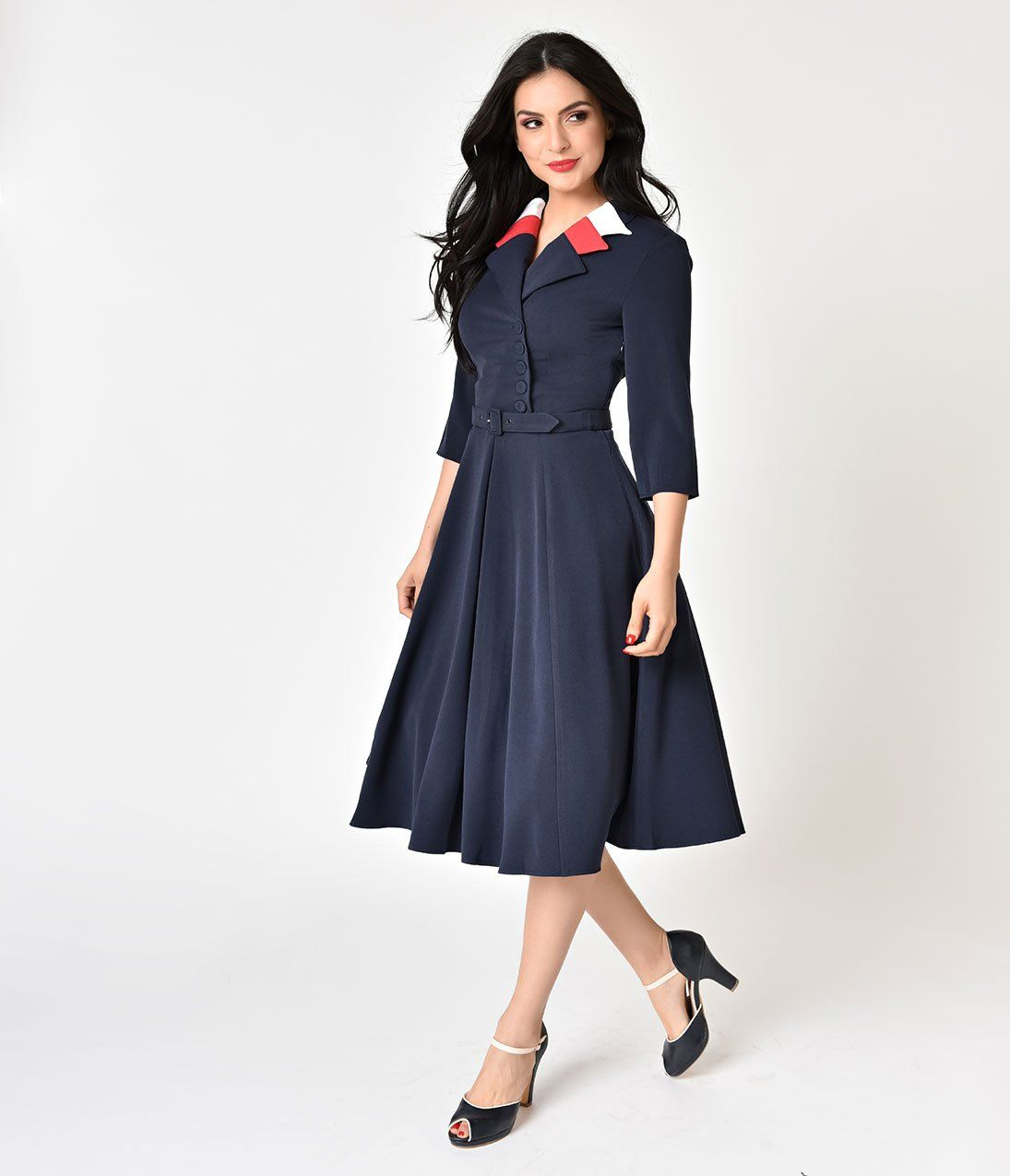 Miss Candyfloss Navy Blue Blazer Style Paisley-Lee Swing Dress ...