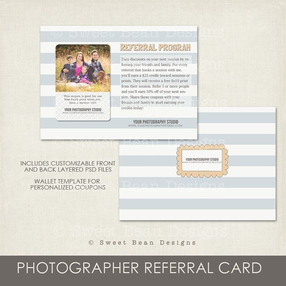 Photography Referral Card Template Modern By Sweetbeangifts