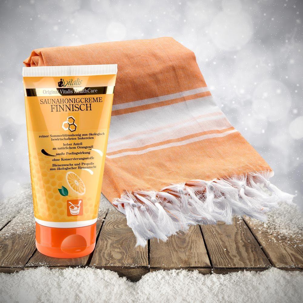 sauna pestemal tuch orange f r damen premium saunahonigcreme finnisch 150 g sauna