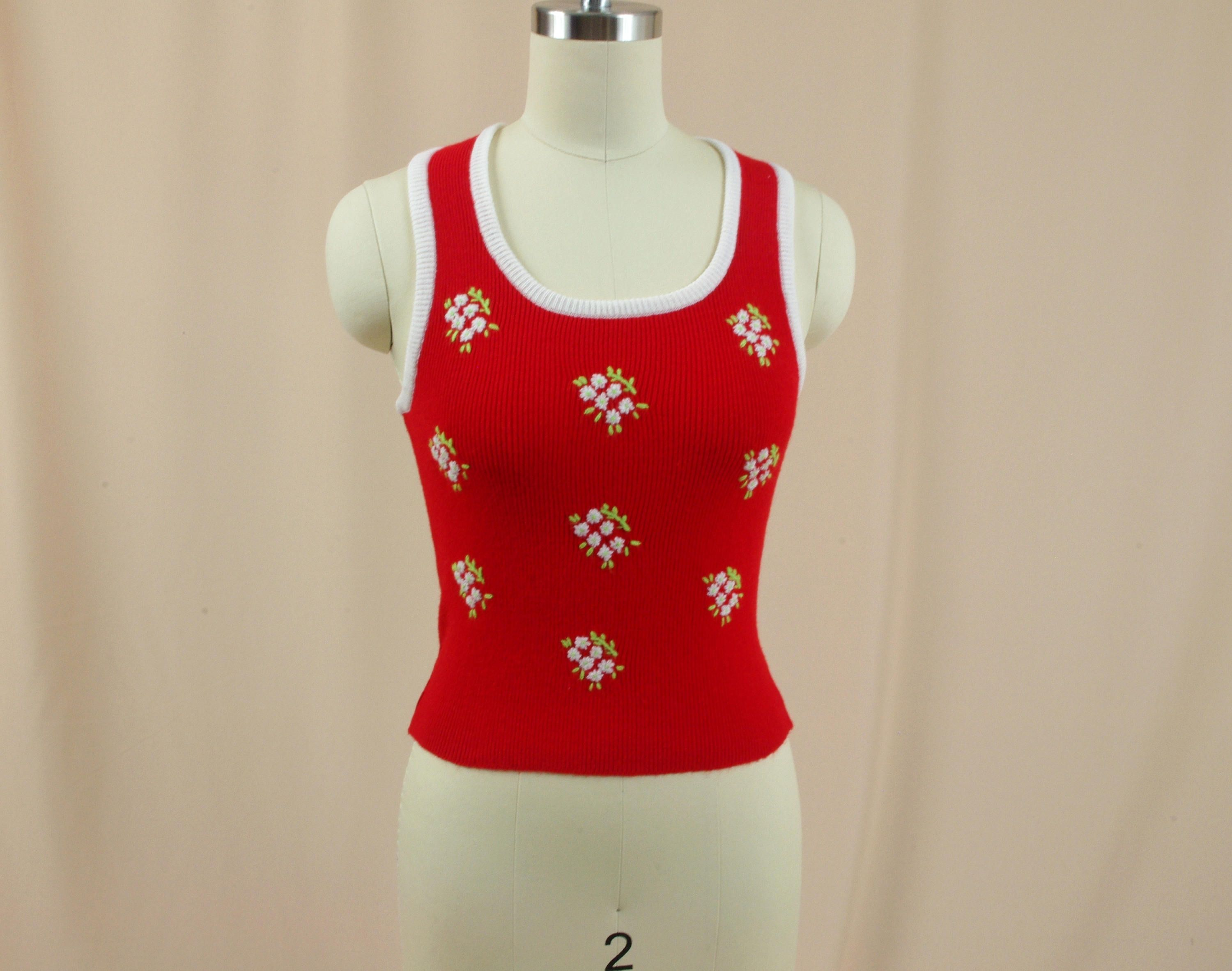 Fully Fashioned 70s White and Red Sweater Vest * Knit Pull Over ...