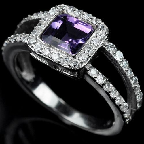 Amethyst + White Sapphire Double Band Ring - Size 7 - $195
