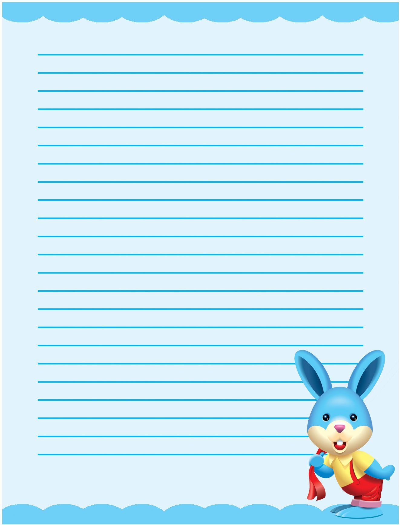 Cute bunny single lined writing paper template – School Writing Paper Template