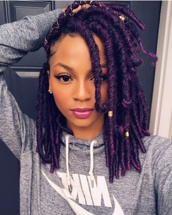 Purple Faux Locs Faux Locs Hairstyles Locs Hairstyles