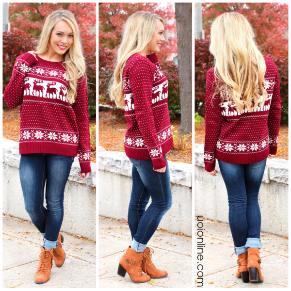 Reindeer Sweater Nordic Sweater | UOIOnline.com: Women's Clothing ...