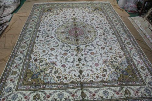 9'x12' Handmade Hand-knotted 450 kpsi Silk Oriental Persian Tabriz Rug B464